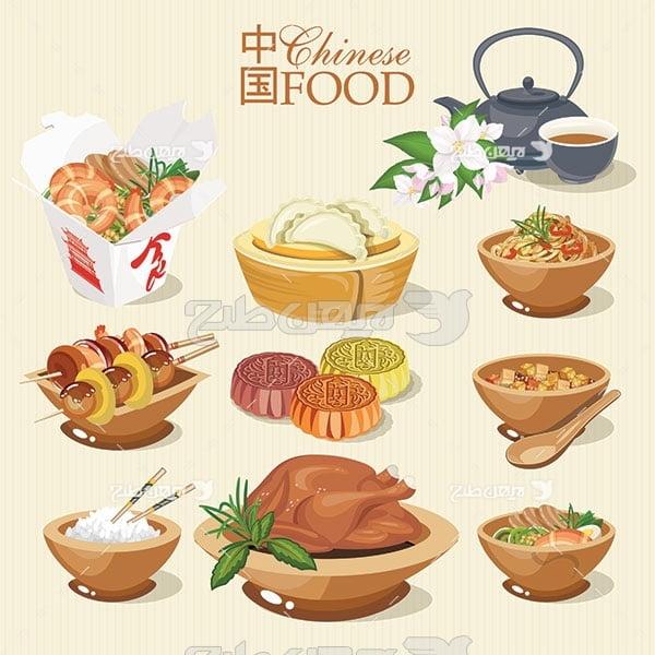 وکتور مواد غذایی مرغ ، سوپ و سالاد