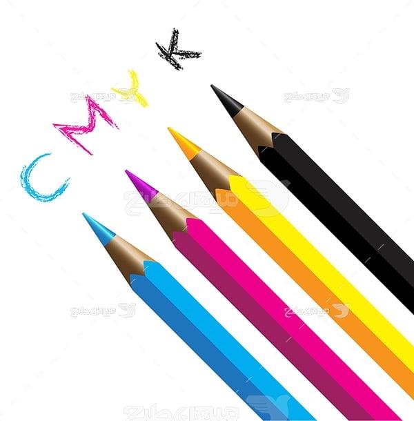عکس نماد رنگ چاپ و تبلیغات با مداد