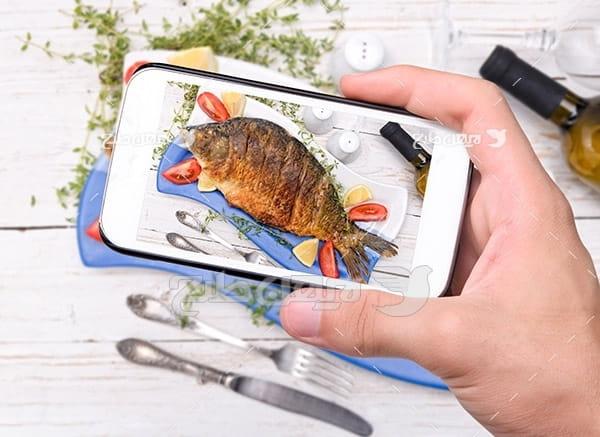 عکس ماهی،گوشت ماهی با موبایل