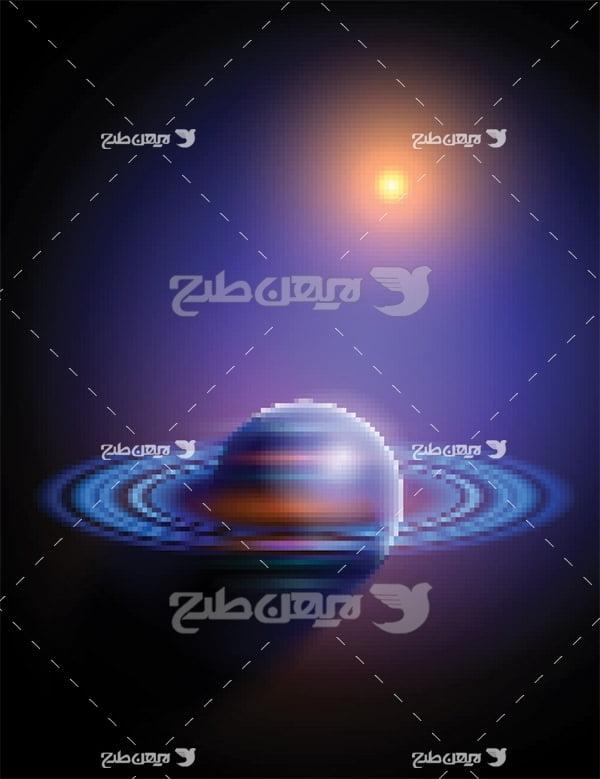 وکتور خورشید و زمین در فضا