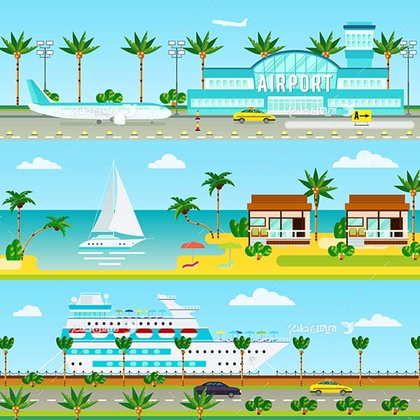 طرح وکتور گرافیکی با موضوع مسافرت و تفریحات ساحلی