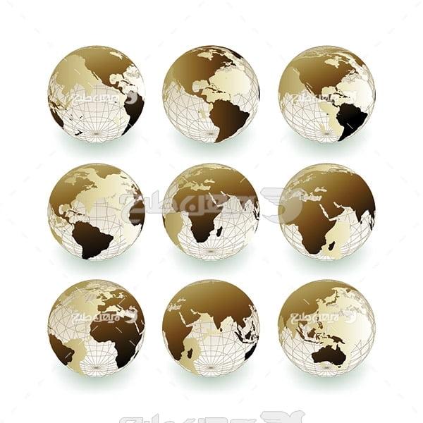 وکتور کره زمین از چند زاویه