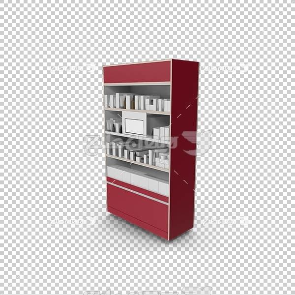 تصویر سه بعدی دوربری قفسه کتاب