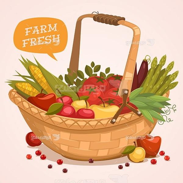 وکتور میوه و تره بار