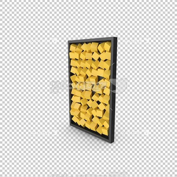 تصویر سه بعدی دوربری دیوار مدرن چوب