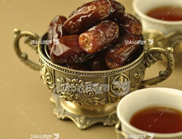 عکس خرما و چای