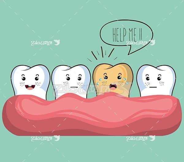 وکتور گرافیکی دندان سالم وخراب