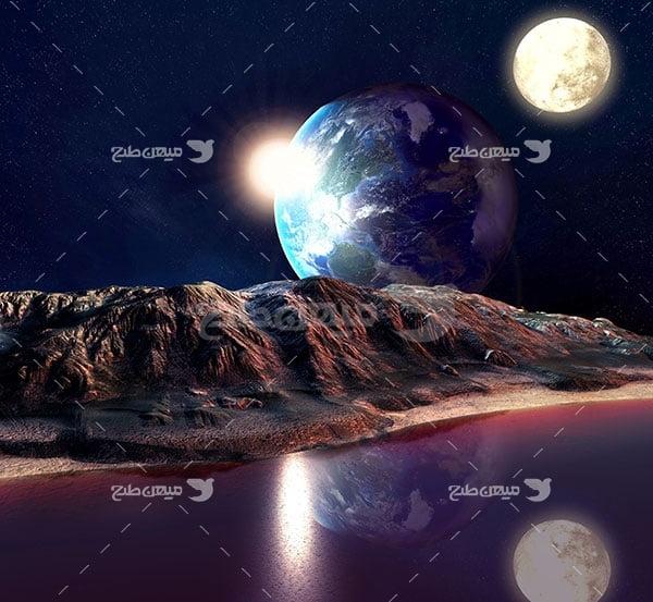 عکس سیاره مریخ و زمین و ماه