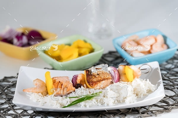 ماهی،میگو,گوشت ماهی,غذای ماهی سبزیجات,غذای میگو,مخلفات ماهی میگو