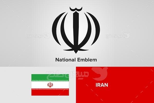 وکتور پرچم ایران و الله