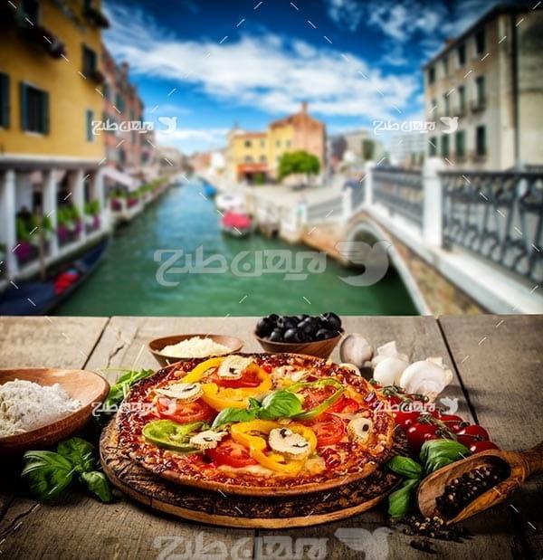 تصویر با کیفیت از پیتزا و فست فود و رودخانه