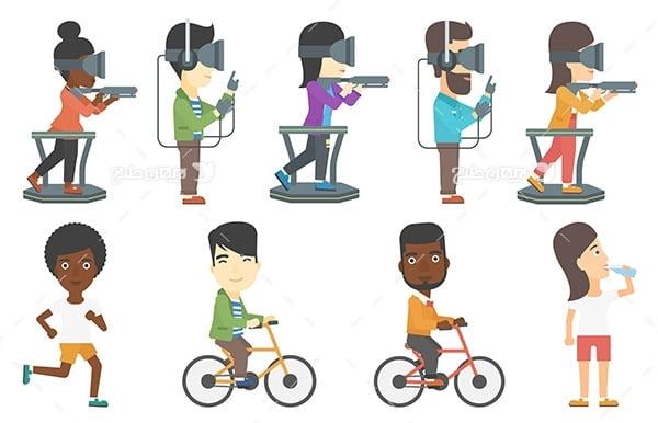 طرح وکتور کاراکتر با موضوع انسان و تیرانداری، دوچرخه سواری و دو میدانی