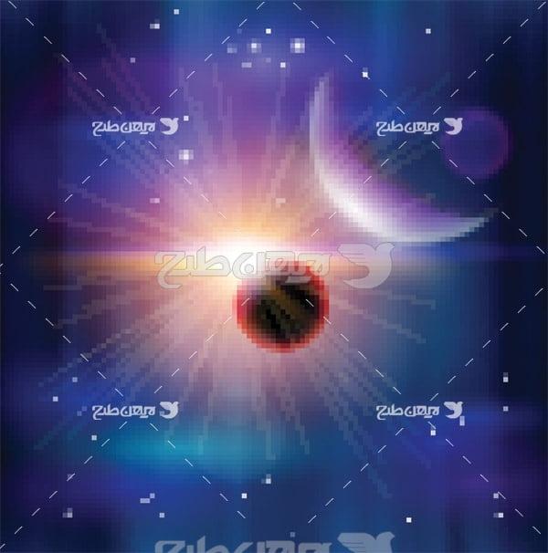 وکتور سیاره خورشید و ماه در فضا