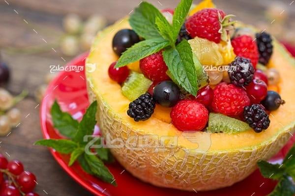 عکس میوه توت و توت فرنگی و طالبی