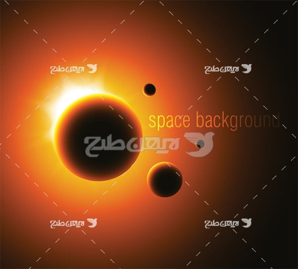 وکتور سیارات نورانی در فضا