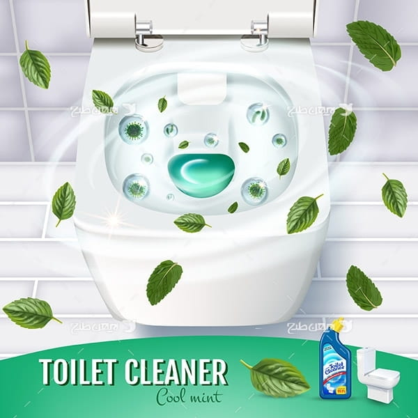 طرح وکتور تبلیغ مایع دستشویی و توالت با عصاره برگ نعنا