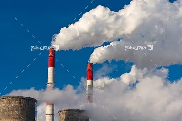 تصویر صنعتی از کارخانه و شرکت پتروشیمی و دود