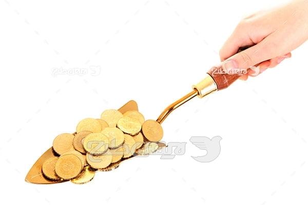 عکس پول و سکه و دست