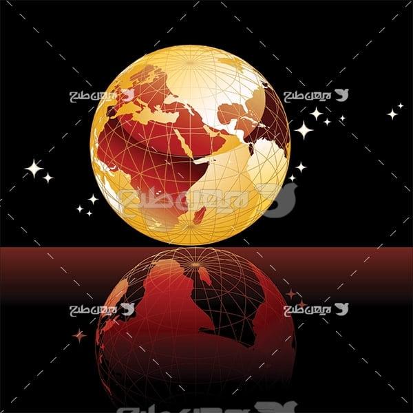 وکتور کره زمین و ستاره ها در شب