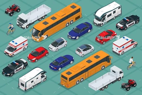 وکتور سه بعدی وسایل حمل نقل