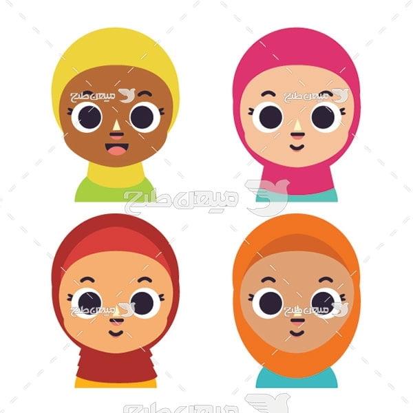 وکتور کاراکتر دختربچه با حجاب