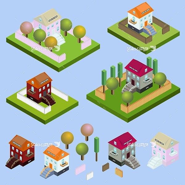 طرح گرافیکی وکتور سه بعدی مزرعه و خانه