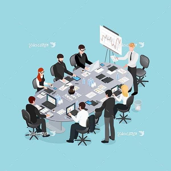 طرح وکتور سه بعدی جلسه کارکنان و آنالیز