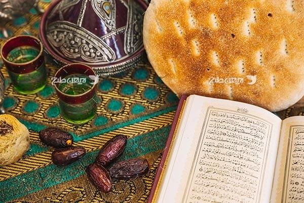 تصویر با کیفیت از افطاری،خرما و قرآن