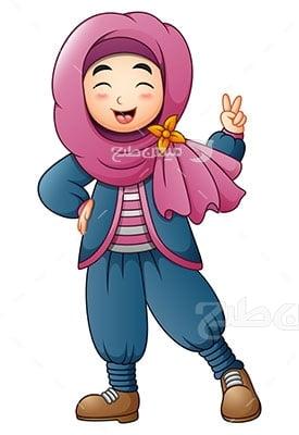 وکتور کاراکتر حجاب دختر با لباس سنتی