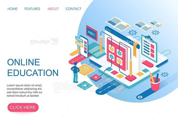 وکتور اسلایدر وب و آموزش آنلاین