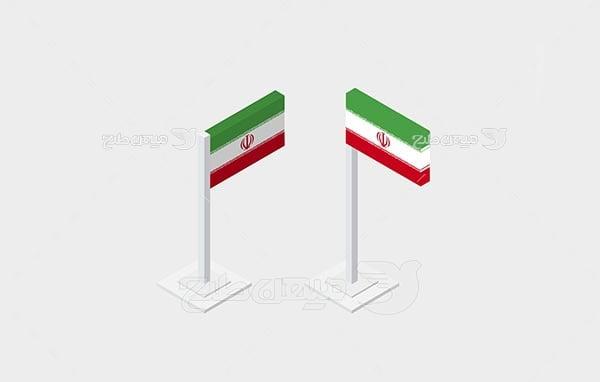 وکتور سه بعدی پرچم ایران