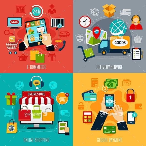 وکتور تجارت الکترونیک و فروشگاه اینترنتی