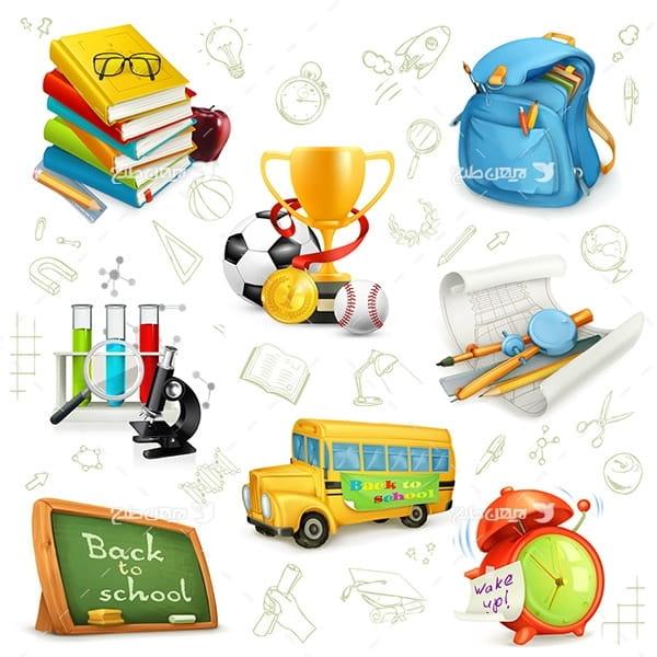 طرح وکتور با المان های مدرسه ، درس و کتاب