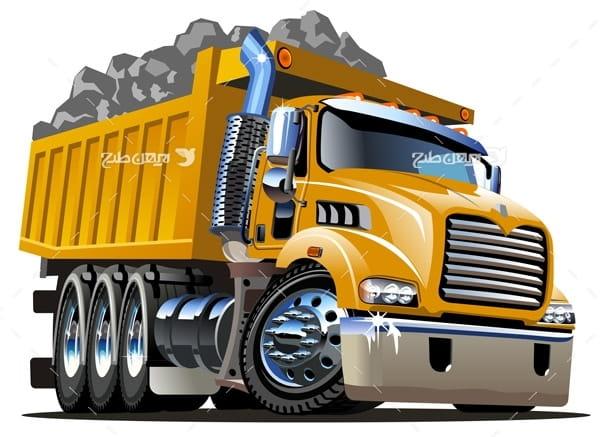 وکتور کامیون حمل سنگ
