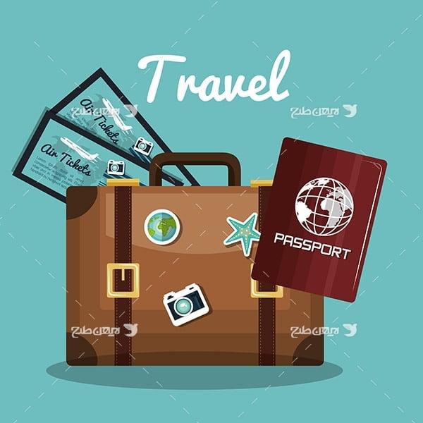 طرح وکتور گرافیکی با موضوع سفر ، چمدان و پاسپورت