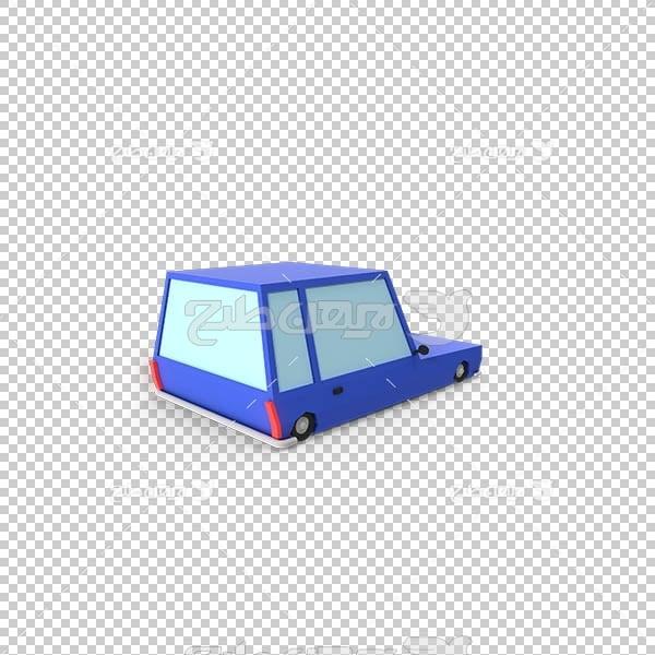 تصویر سه بعدی دوربری ماشین آبی