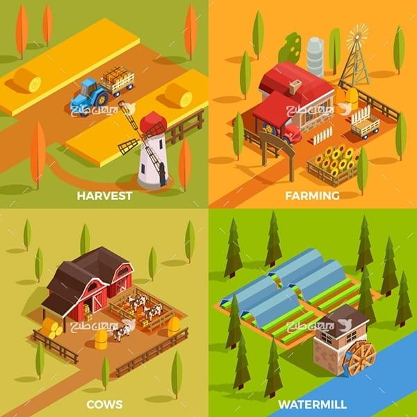 وکتور گرافیکی کشاورزی و دامپروری