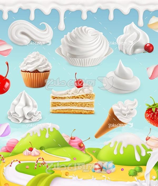 وکتور بستنی ، شیرین ، خامه