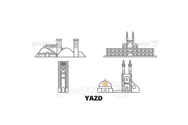وکتور اماکن باستانی ، گردشگری و زیارتی شهر یزد