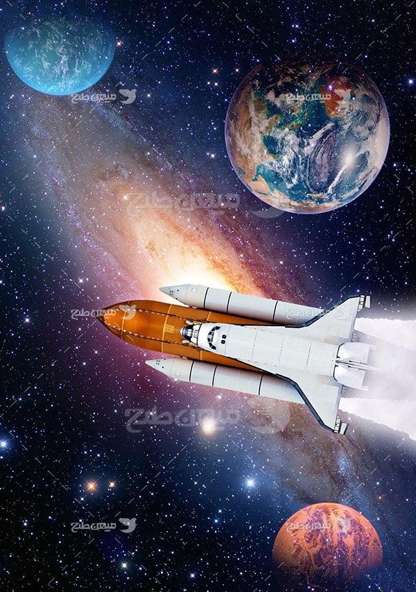 عکس فضاپیما و سیاره زمین