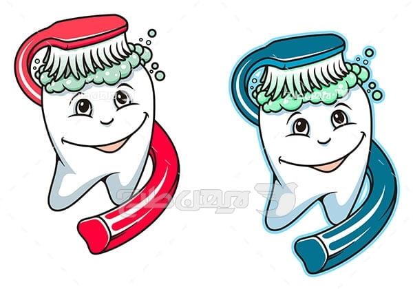 وکتور گرافیکی مسواک زدن دندان