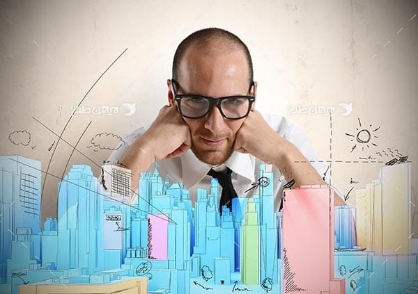 تصویر از ساختمان و انسان