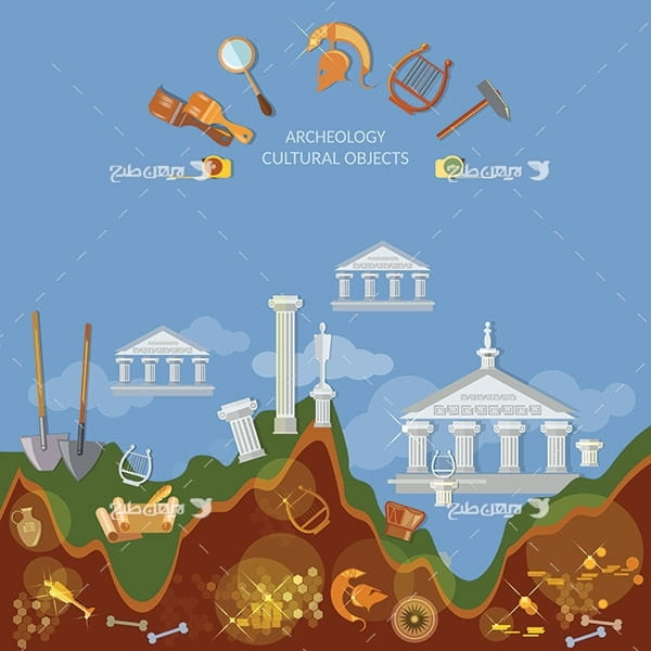 طرح وکتور گرافیکی موزه و گنج و آثار باستانی