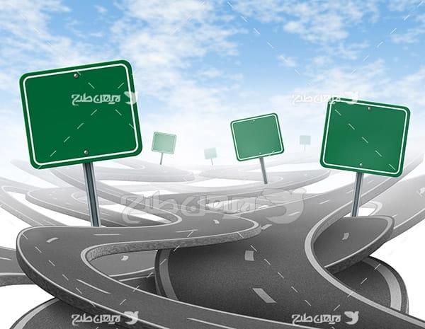 تصویر جاده سه بعدی و علائم ترافیکی