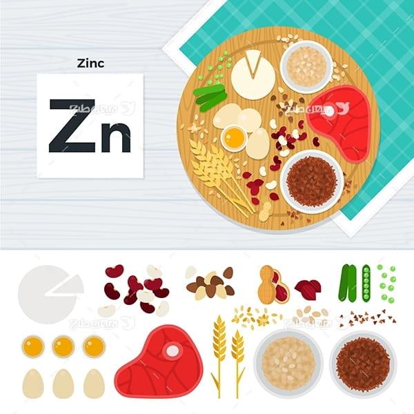 طرح وکتور گرافیکی مواد غذایی با موضوع ویتامین آهن