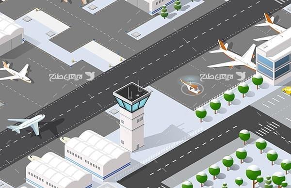طرح گرافیکی وکتور سه بعدی فرودگاه