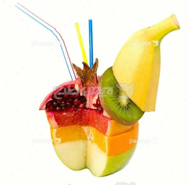 عکس میوه با نی