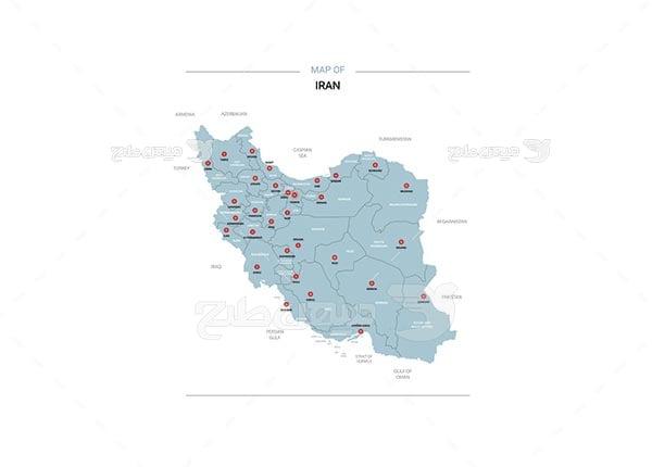 وکتور نقشه استان های ایران