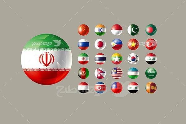وکتور آیکن پرچم ایران و کشورهای آسیا
