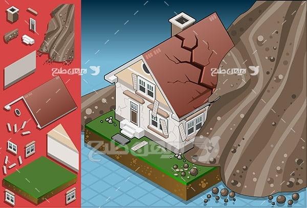 وکتور ریزش خاک و کوه بر روی خانه و ساختمان